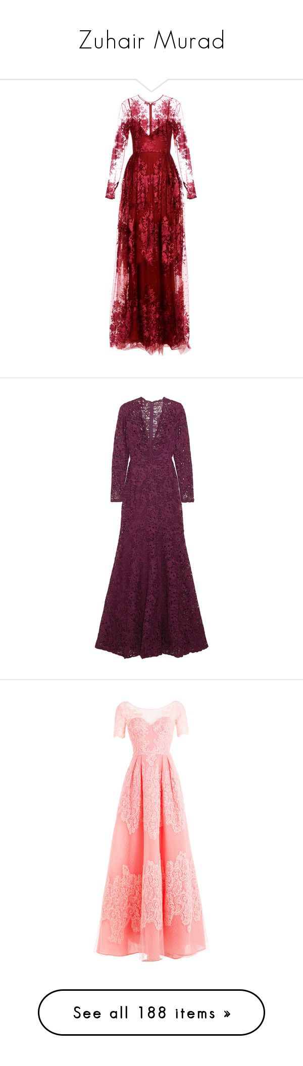 """""""Zuhair Murad"""" by shulamithbond on Polyvore featuring dresses, maroon, long dresses, embroidered dress, long sleeve day dresses, maroon long sleeve dress, long-sleeve maxi dress, gowns, gown and purple dresses"""