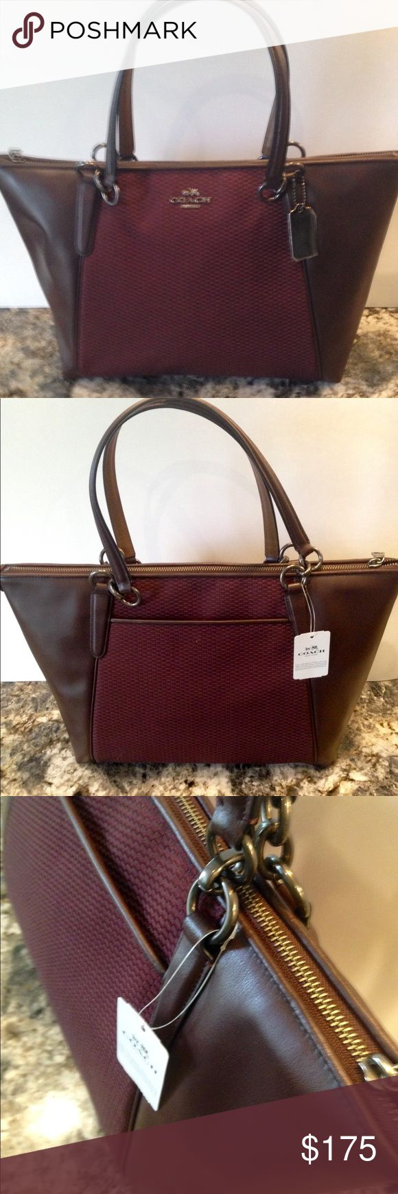"""NWT Coach Legacy Jacquard Ava Tote/Oxblood New with tags Coach legacy jacquard material and leather/oxblood Ava zip tote shoulder handbag. Zip top closure with antique nickel hardware. Handles with 9""""drop. Outside slip pocket on back. F57246. No Trades Coach Bags Shoulder Bags"""