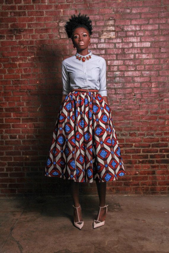 NEW The Shavon -African Print 100% Holland Wax Cotton Midi Skirt: