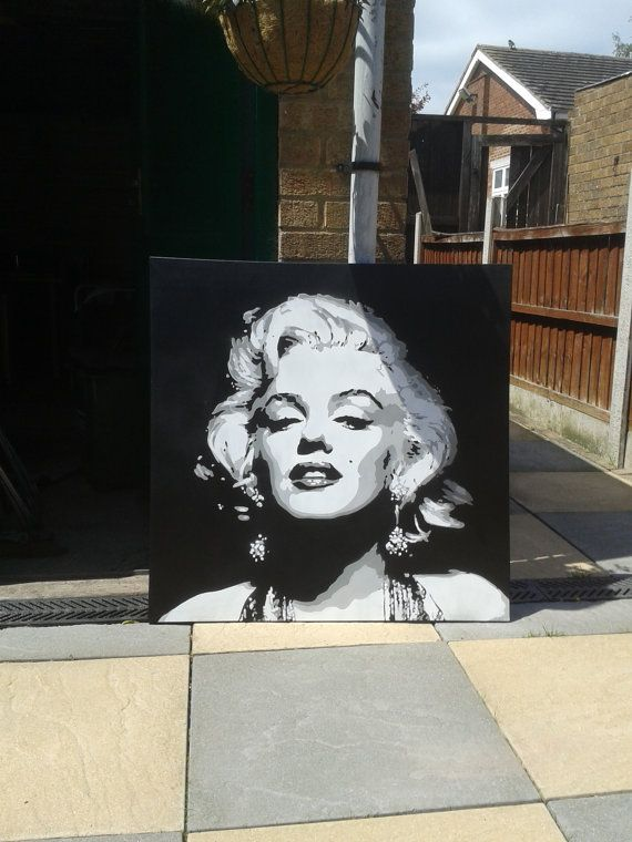 MADE TO ORDER  Marilyn Monroe stencil art painting  36 by 36 inches  Stencils & spray paints on canvas.  This painting is created with hand