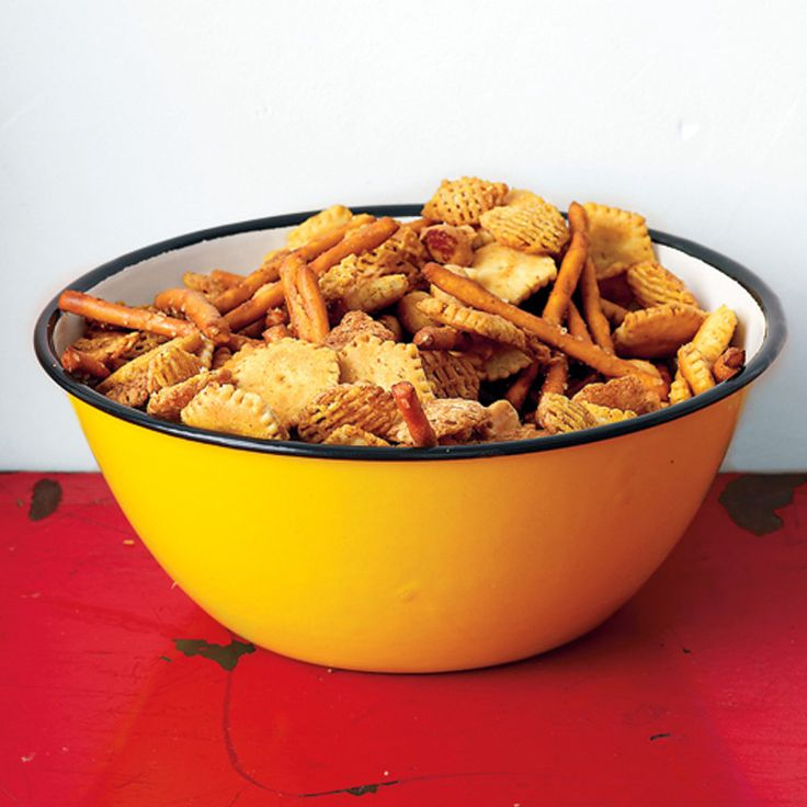 Old Bay Seasoning adds a spicy kick to this party-ready snack mix.