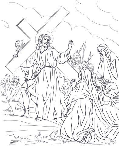 Ottava stazione - Gesù ammonisce le donne di Gerusalemme Disegno da colorare