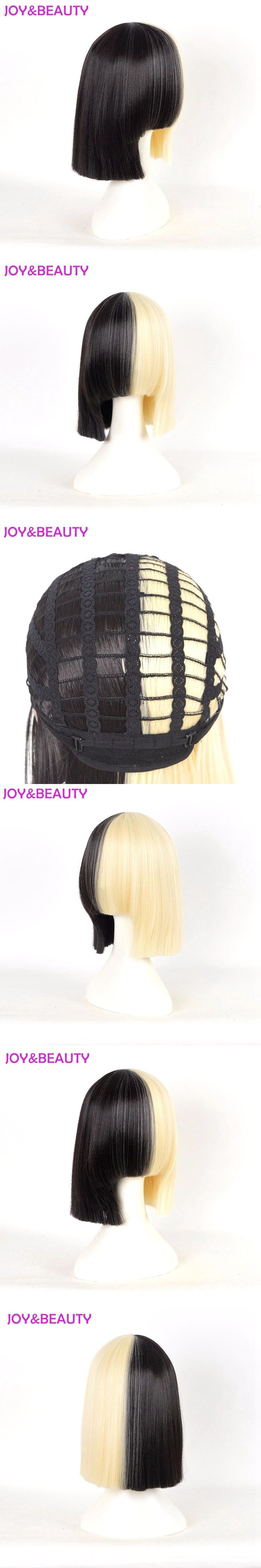 JOY&BEAUTY Hair Long bang Sia wig Short Bob Wig Women's Half Blonde and Black Mix Hair Short Straight Cosplay Wig 12inch long