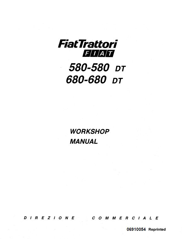 Fiat 580, 580DT, 680, 680DT Tractor Service Manual