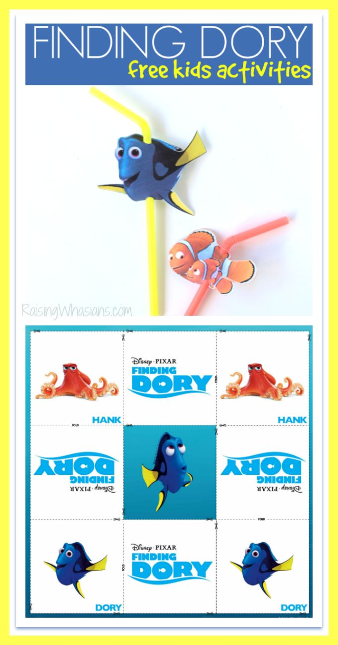 Free finding dory straw topper printable kids activities for Disney fish names