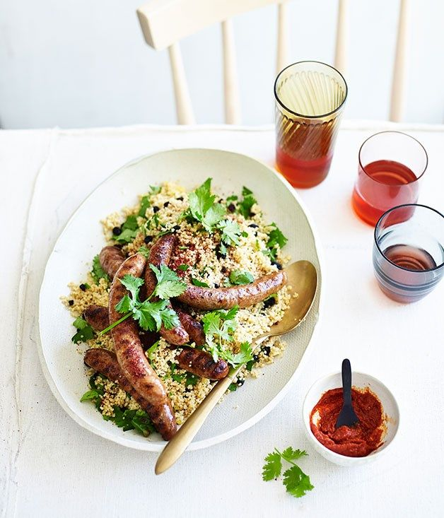 Merguez sausages with harissa and couscous recipe | Fast sausage recipe :: Gourmet Traveller