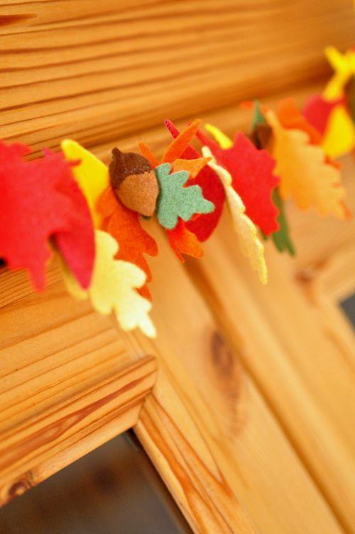 Wonderful autumn felt garland #vilt #zelfmaken #herfst