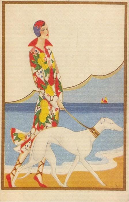 Art Deco illustration, femme, chien