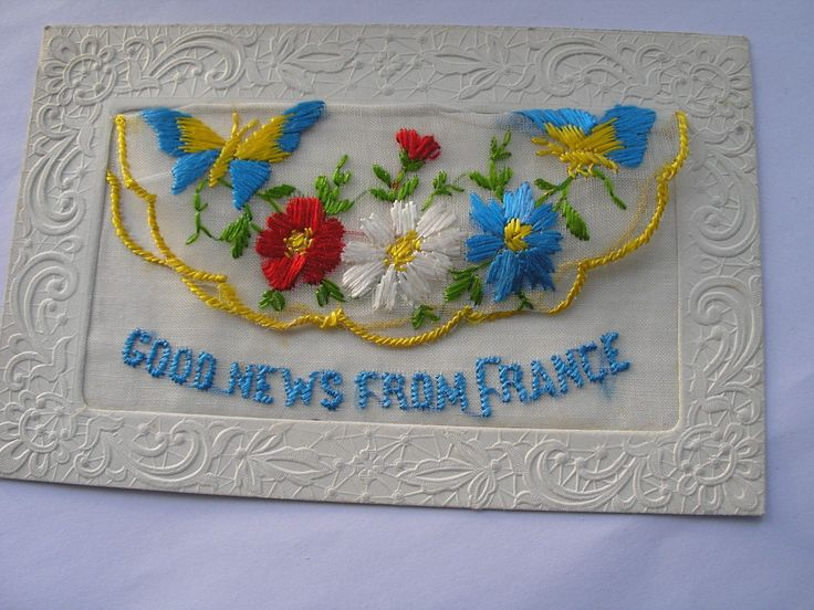 Antique Ww1 Embroidered Silk Postcard Good News From France • £0.99 • PicClick UK