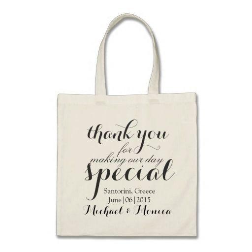 Thank You Custom Wedding Hotel Gift Tote Bag