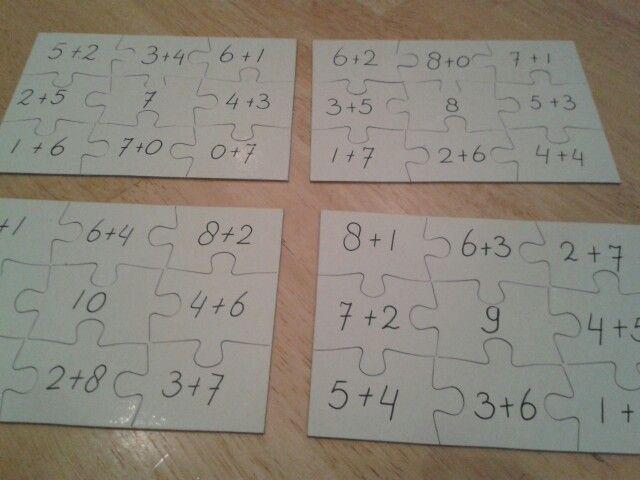 Sompuzzels. Lege puzzelkaarten gekocht bij Action. Aan de achterzijde staan symbolen voor zelfcontrole.