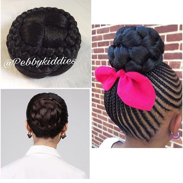 Detachable Bun Available It Can Be Use To Pack Your Children S Natural Hair For Shuku Ghana Weaving Or Gel Pack Natural Hair Styles Hair Pieces Bun Hairstyles