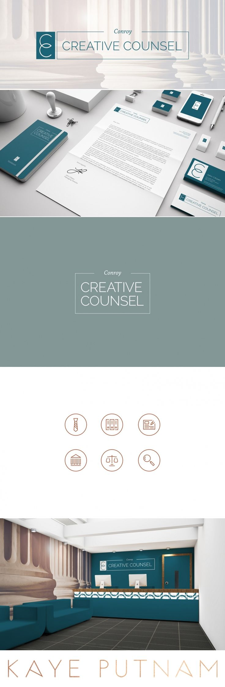 Conroy Creative Counsel is a web design and online marketing firm for the law industry. We combined her Sage & Royal Brand archetypes to create this compelling brand strategy and identity.