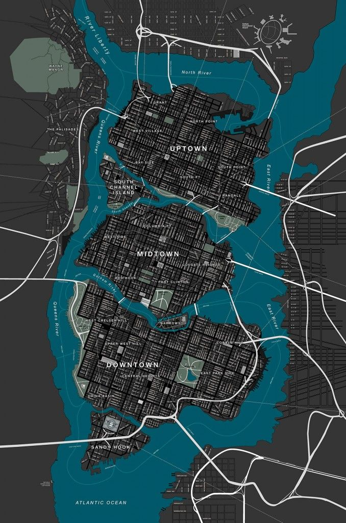 Mapa de Gotham City | Cool stuff | Mapa cidade, Desenho ...