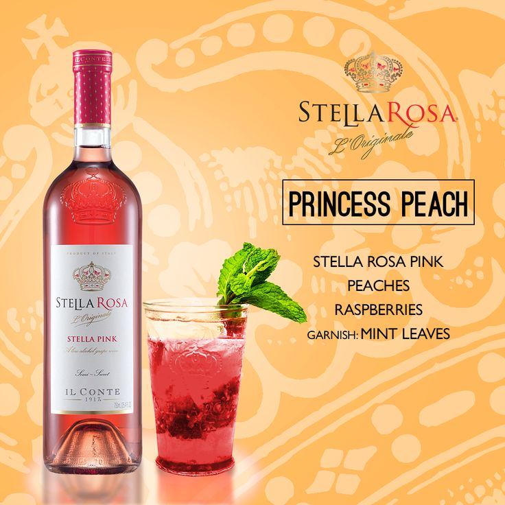 Stella Rosa Wines original cocktail recipe: Princess Peach. -- Muddle raspberries and peaches together. Add Stella Rosa Pink. Garnish with mint leaves.