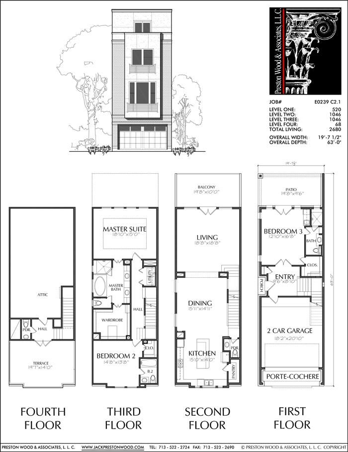 Townhomes Townhouse Floor Plans Urban Row House Plan Designers Preston Wood Associates Town House Floor Plan Architectural Floor Plans House Layout Plans