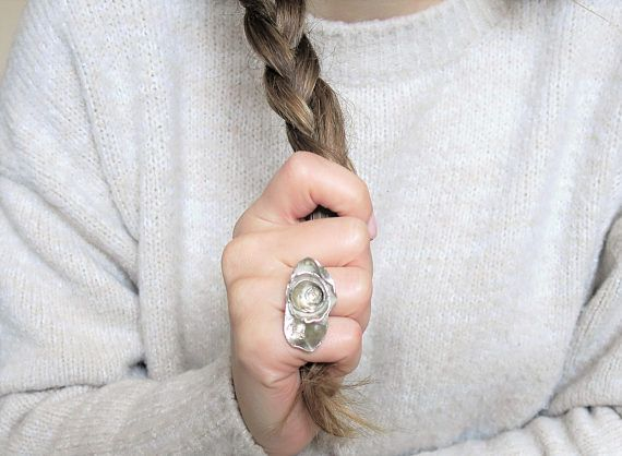 Silver Flower Ring --- > A beautiful boho ring that makes a perfect gift for her (or you) as it is an adjustable ring and it fits most sizes. If it is completely closed then it is around 4.5 US size ( 48 EU size). It looks nice up to size 9 (EU 60). Notice how the flower part of the
