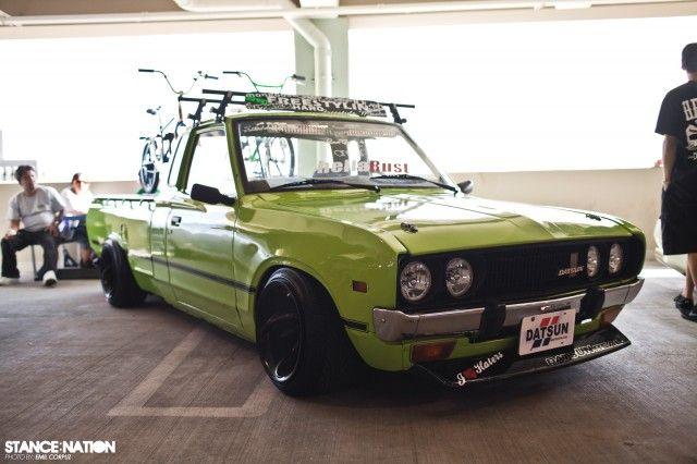 Slammed lime green Datsun Pickemup truck | Cars I Want to ...