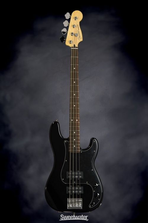 Fender Blacktop Precision Bass - Black | Sweetwater.com. 4-string Bass Guitar with Alder Body, Maple Neck, Rosewood Fingerboard, and 2 Humbucking Pickups - Black
