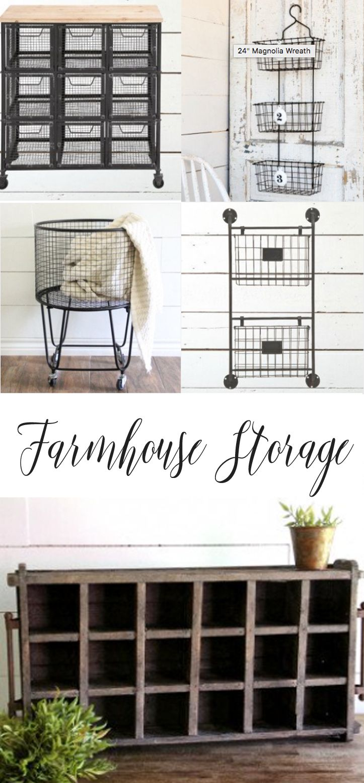 LOVE this site. Check out the farmhouse style baskets and containers. They have so many different storage solutions. I can think of so many purposes for these! The rolling cart would be great in my laundry room or as kids' room toy storage. Affiliate.