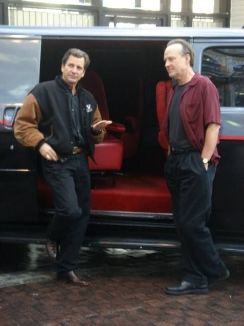 Dirk Benedict & Dwight Schultz with a modern replica of the A-Team van... still the same great guys!