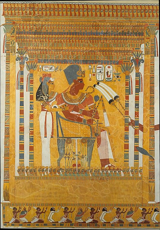Amenhotep III and his mother, Mutemwia. Detail from a kiosk (Theban Tomb TT…