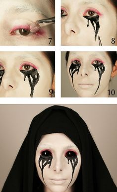 Der Halloween Schminke schwarze Kontaktlinsen hinzufügen