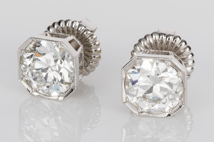 Fabulous diamond stud earrings! 4.20cts total weight but the best thing is these glorious old cut diamonds that have a grading of F-G colour VS1-2 clarity. You don't see old cut diamonds like these much anymore. Available on www.1stdibs.com/dealers/the-jewellery-trading-company/