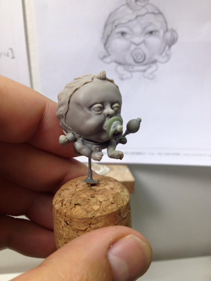 "My latest miniature sculpture ""Ah Goo the baby cabbage"""