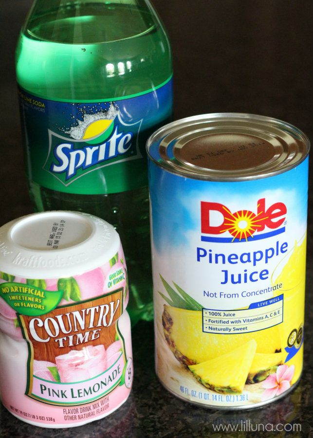 Pineapple Pink Lemonade Soda -can use regular lemonade with pink food coloring