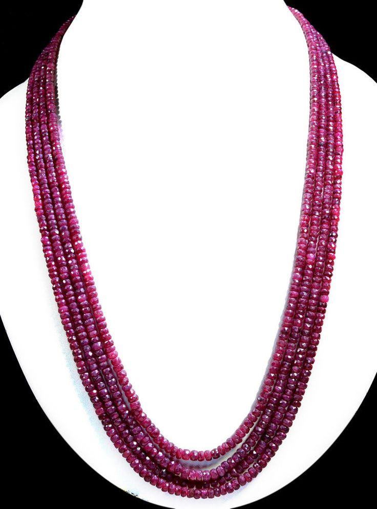 4 Strands Natural Red Ruby 483ct Faceted Beaded Gemstone String Necklace #KrishnaGemsNJewels #StrandString