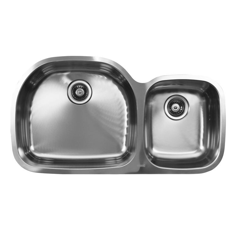 Ukinox 60/40 Double Basin Stainless Steel (Silver) Undermount Kitchen Sink (Undermount stainless steel kitchen sink), Size Over 22