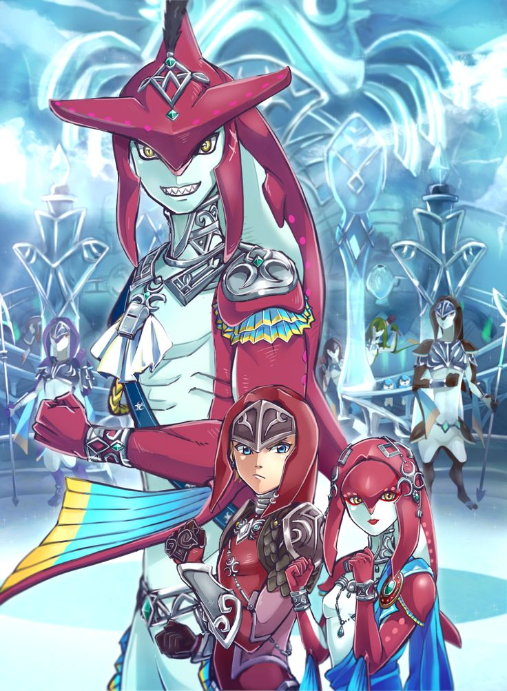 The Zora family | #BOTW #sidon #mipha Legend of Zelda Breath of the Wild Link, Mipha, and Sidon