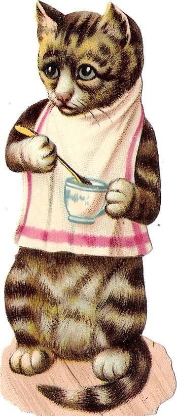Oblaten Glanzbild scrap die cut chromo Katze cat kitten Löffel spoon Tasse cup