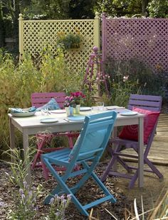 bright chairs painted with cuprinol garden shades