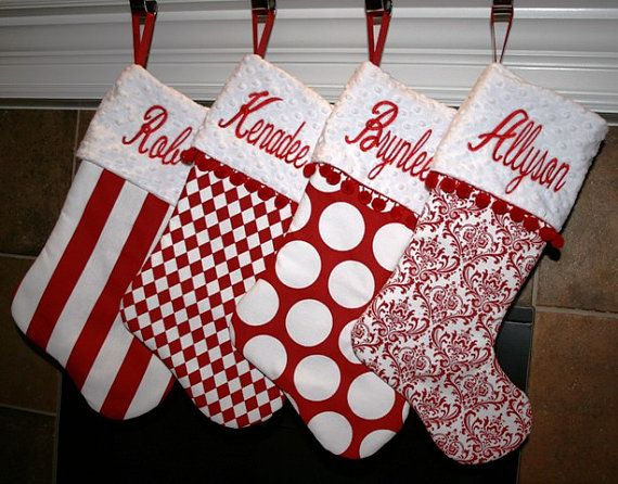 set of 6 custom christmas stockings with ball fringe and embroidery