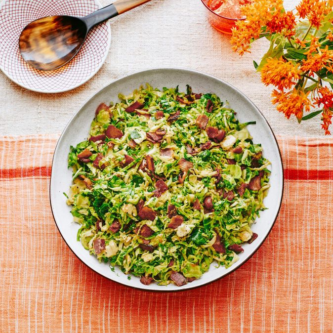 Jacque Pepin's Fricassee of Brussels Sprouts & Bacon | Rachael Ray Every Day