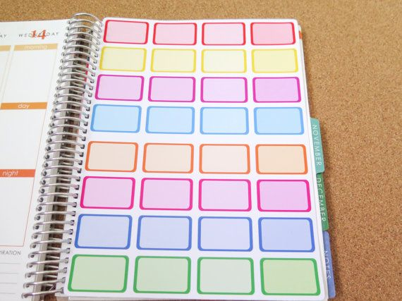 Rainbow Half-box Stickers! Perfect for the Erin Condren, Limelife, Plum Paper, Kikki Planners and Happy Planners!