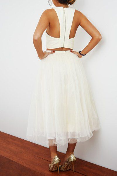Charming White Sleeveless Crop Top and Gauze Pleated Ball Skirt Twinset For Women