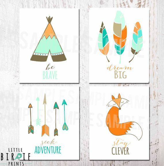 tribal nursery wall art set printable tee pee fox arrows feather art kids room printable - Printable Art For Kids