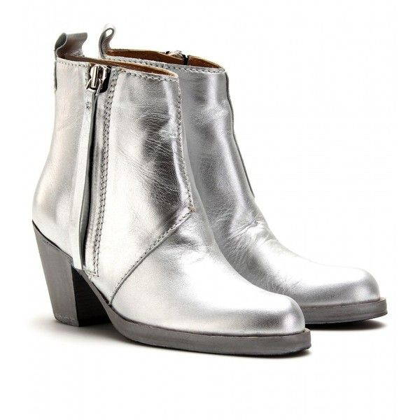 Acne Mytheresa.Com Exclusive Pistol Short Boots (€390) ❤ liked on Polyvore featuring shoes, boots, ankle booties, silver, ankle boots, heels, black boots, black heel booties, black bootie and stacked heel booties