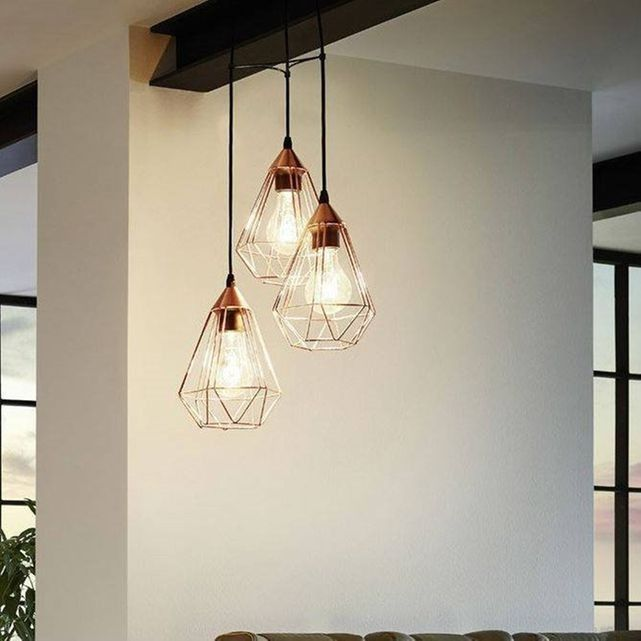 Suspension Tarbes 3 lampes finition cuivre   Mon style
