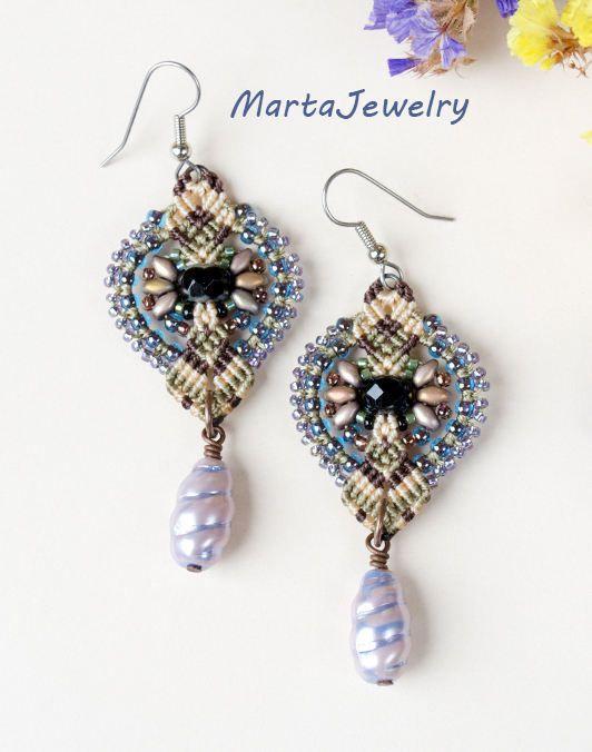 Micro-macramé orecchini perline bohemien rustici gioielli