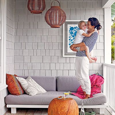Take It Outside < Live Large in Small Spaces - Coastal Living would be great with taller legs. Just use a door and legs from lowes.