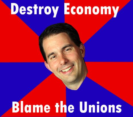 Wisconsin's crappy Governor, Scott Walker. Ass puppet of the criminal Koch brothers
