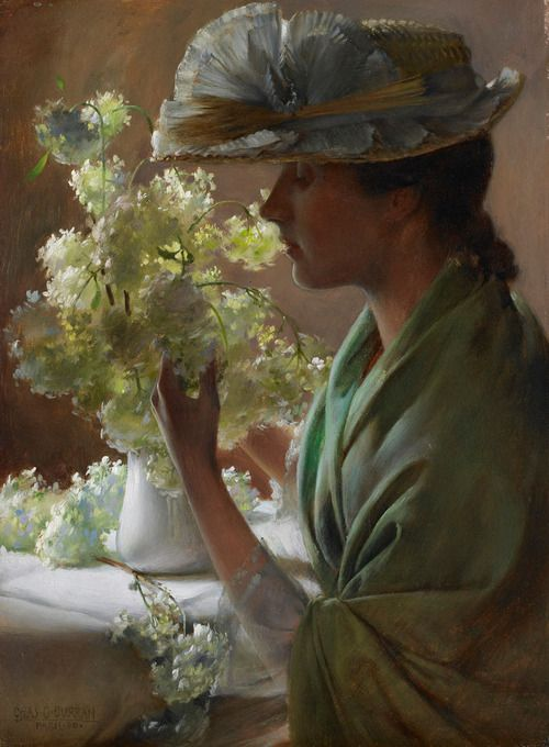 Charles Courtney Curran (1861-1942) - Lady with a Bouquet (Snowballs) Love the lighting in this.  It gives the painting such depth.
