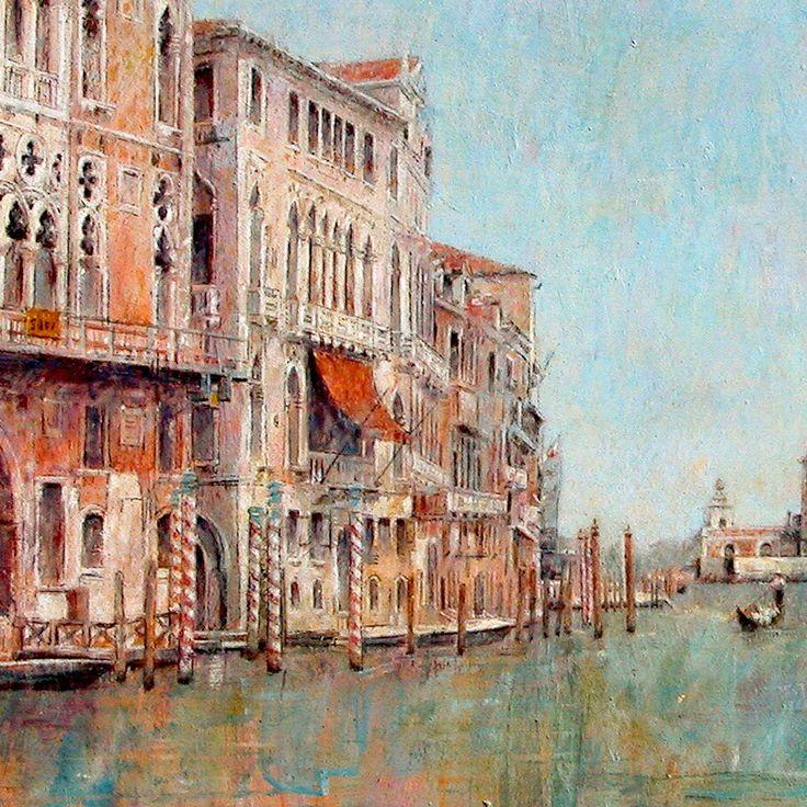 Detalle de Gran Canal de Venecia. Óleo sobre tabla de 61 por 91 cm. Colección particular.