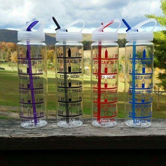 Water bottle with water intake chart http://jeniferlynncreations.com