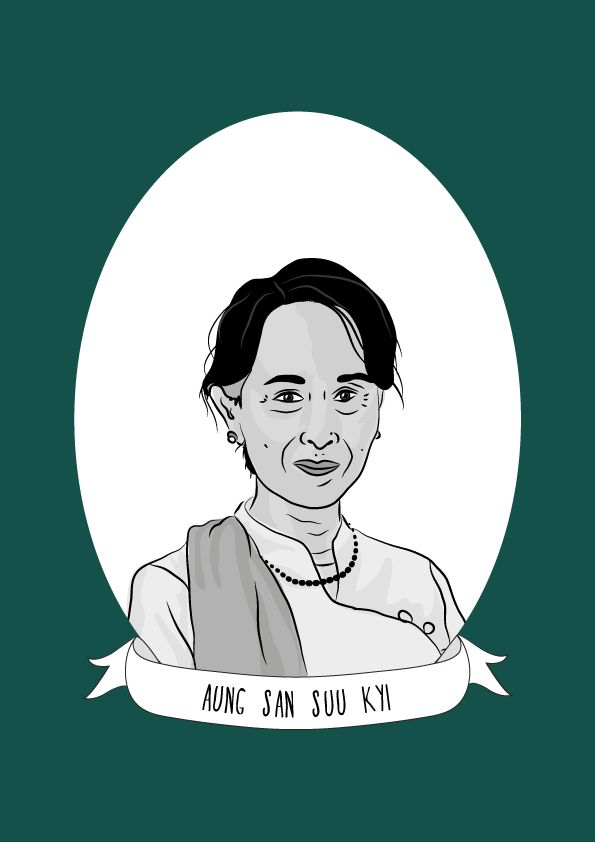 Aung San Suu Kyi is a Burmese opposition politician and chairperson of the National League for Democracy (NLD). She is the winner of the 1991 Nobel Prize for Peace.