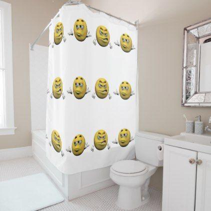 Yellow angry emoticon or smiley shower curtain - home decor design art diy cyo custom